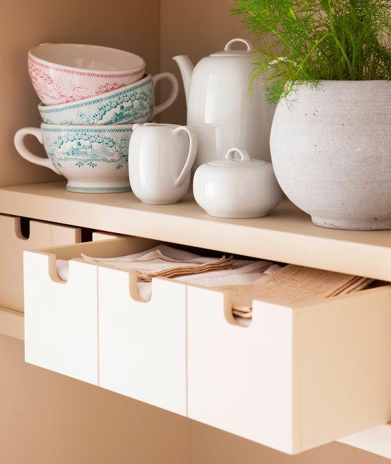 Pequeños cajones para paños de cocina y accesorios, con estante ...