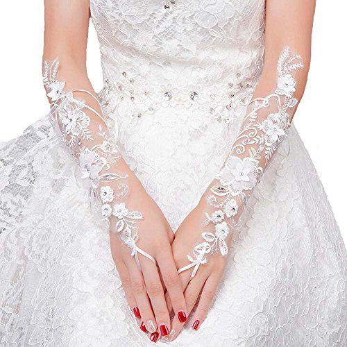 Kentong Hill Long Lace Rhinestone Beaded Wedding Bridal Gloves