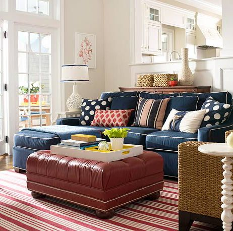 Like the polka dot pillows and red accents navy blue for Polka dot living room ideas