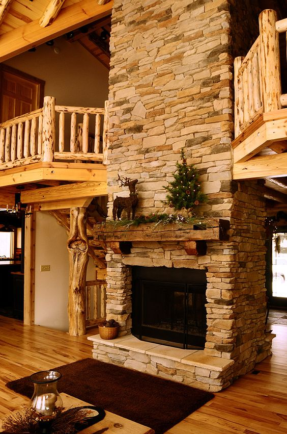 Pinterest the world s catalog of ideas for Log cabin fireplace designs