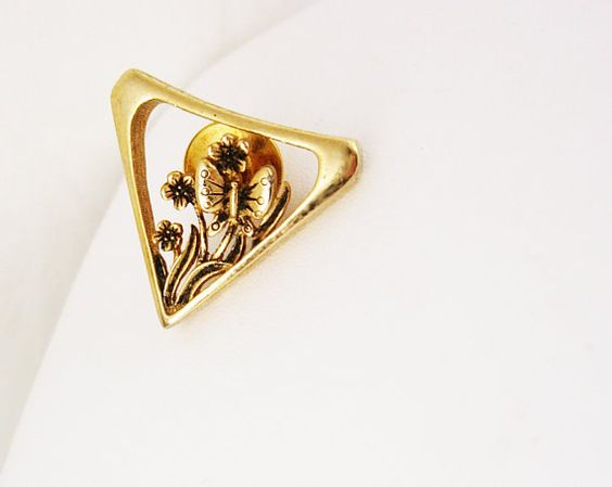Butterfly and Floral Vintage Tie Tac Lapel by NeatstuffAntiques