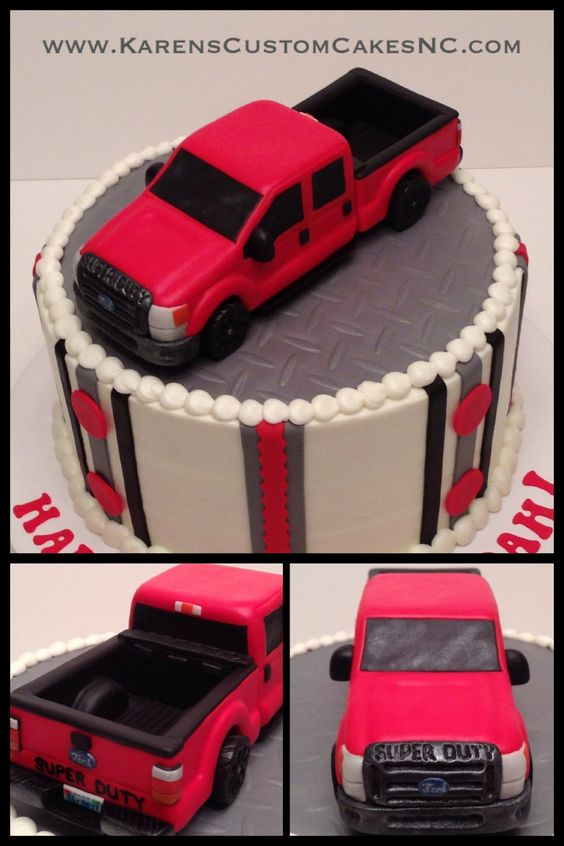 Ford pickup truck cake topper made from rice cereal treats and fondant (back end contains