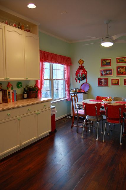 red kitchen kitchens above cabinets retro look red red and teal earth