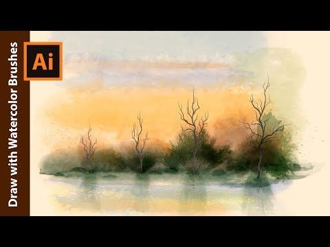 How To Draw A Landscape With Real Watercolor Vector Brushes In