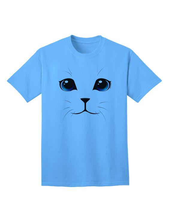 TooLoud Blue-Eyed Cute Cat Face Adult T-Shirt