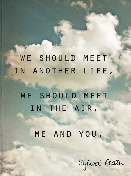 """""""We should meet in another life/ We should meet in the air/ Me and you"""" -Sylvia Plath"""