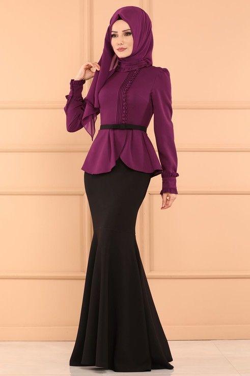 Modaselvim Abiye Cift Renkli Balik Abiye 5090ay342 Murdum Fashion Blouse And Skirt Dresses