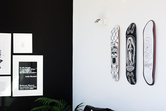 skateboard decor | www.fashionlush.com  #fashionlush #blackandwhite #minimaldecor #skateboards