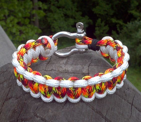 Rainbow with White Shackle Clasp Paracord Bracelet