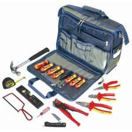 CK Electrician's Premium Toolkit - The CK Tools 595003 is a premium electrician's tool kit containing everything an apprentice would need all in an extra heavy duty polyester case with 50 internal pockets and padded internal compartments. This tool kit has been designed with electricians, service engineers, and technicians in mind.