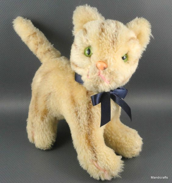Tabby #Cat Brown Striped Kitty Germany Dralon #Plush 18 cm unjointed c1960s Vtg