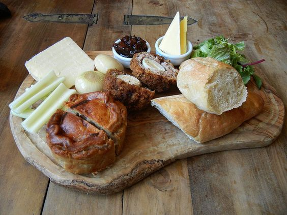 Ploughman's Lunch. Like a outsize, carb-loaded bento! I love the personal meat pie.. a lot.