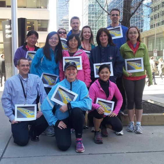 Ottawa, Canada, workplace RunClub shows our support for runner of the Boston Marathon. We RunForBoston today.