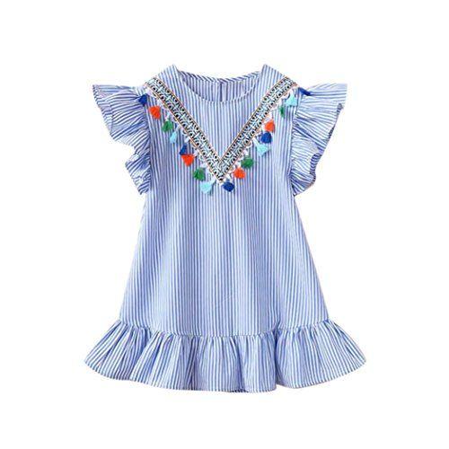 Pollyhb Baby Girls Summer Dress 2-7 Years Toddler Kids Baby Girls Clothes Stripe Tassel Ruffles Party Princess Dresses