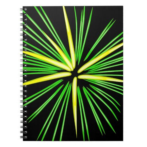 Firework Burst in Green & Yellow Spiral Note Books