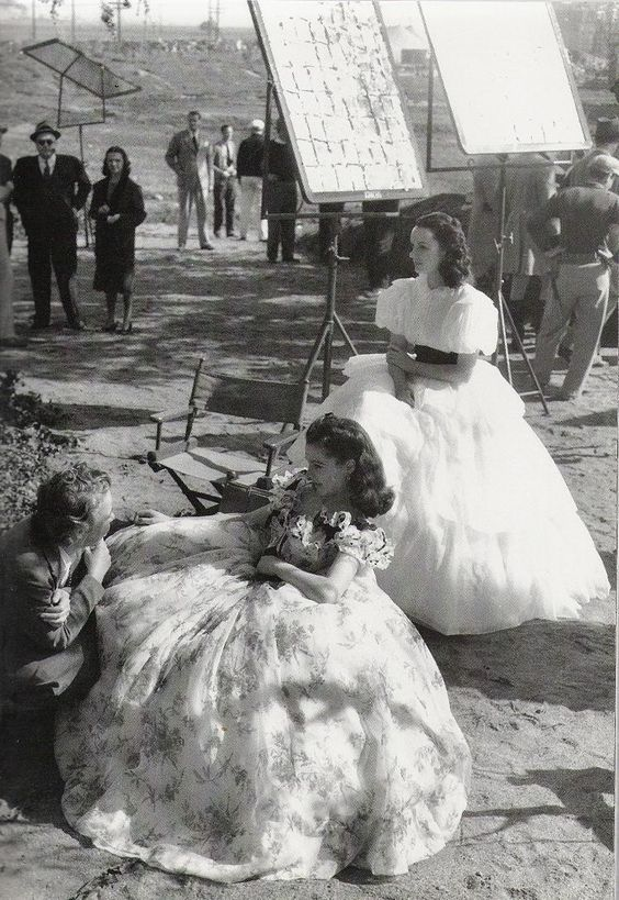 Vivien Leigh in the white gown, on our right, Behind-the-Scenes: Gone with the Wind