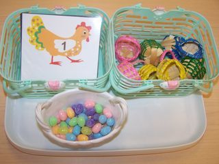 Eggs and Baskets: Counting Eggs, Center Activities, Eggs Activity, Sparkle Eggs, Card Basket, Chicken Cards, Spring Easter Activities, Cards Baskets
