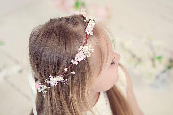 Blush Pink Flower Girl Crowns Bridal Flower by MaijasWeddingBliss