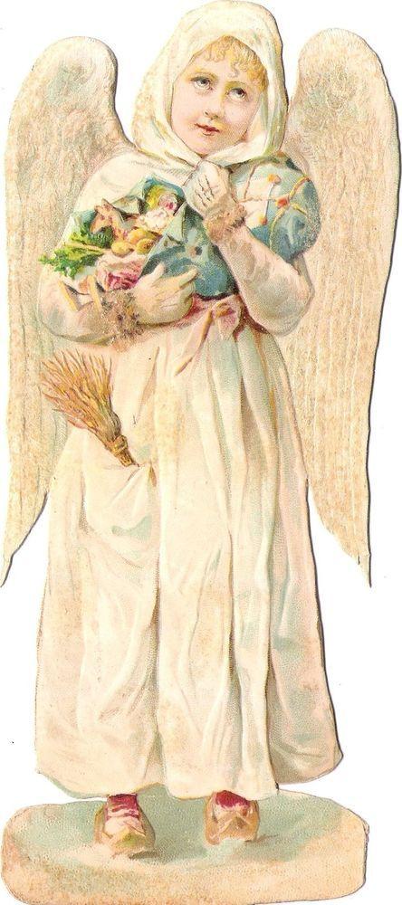 Oblaten Glanzbild scrap die cut chromo Winter Engel  XL 20,5cm XMAS angel MICA: