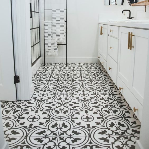 Merola Tile Arte White Encaustic 9-3/4 in. x 9-3/4 in. Porcelain Floor and Wall Tile (11.11 sq. ft. / case) - FCD10ARW - The Home Depot. Love these tiles in bathrooms. #blackwhite #decor #bathroom #tiles #afflink #moroccan #beautiful