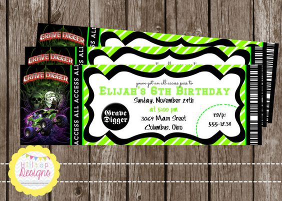 PRINTABLE Grave Digger Monster Truck Birthday Ticket Invitation for Boys. YOU PRINT. on Etsy, $8.00