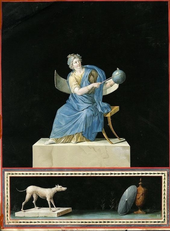 Urania - Muse of Astronomy. 1726-75. Artist unknown. watercolor http://hadrian6.tumblr.com: