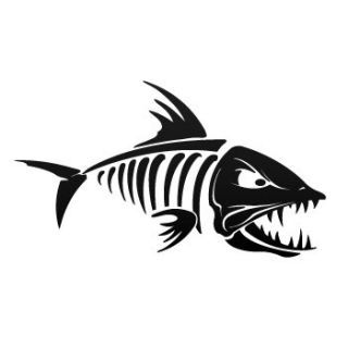 Fish decals decal sticker fish bones skull skeleton for Fish skeleton decal