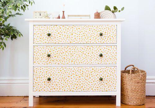 How To Wallpaper A Dresser Wallpaper Dresser Dresser Refinish Set Of Drawers