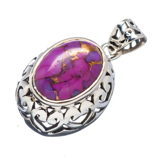 "Purple Copper Composite Turquoise 925 Sterling Silver Pendant 1 1/4"" PD527902"