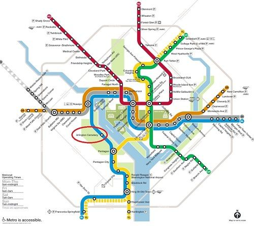 Metro Map, Arlington National Cemetery Highlighted for Visitors