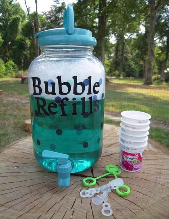 Bubble Refills Recipe for DIY Kids Party Ideas  | Fun and Cool DIY Projects For Outdoor Parties! By Pioneer Settler at http://pioneersettler.com/classic-kids-party-ideas-homesteading-family/: