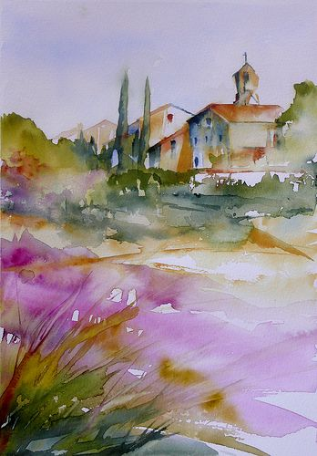 Aquarelle - Champ de lavandes / Lavender field - , provence - We Love Provence