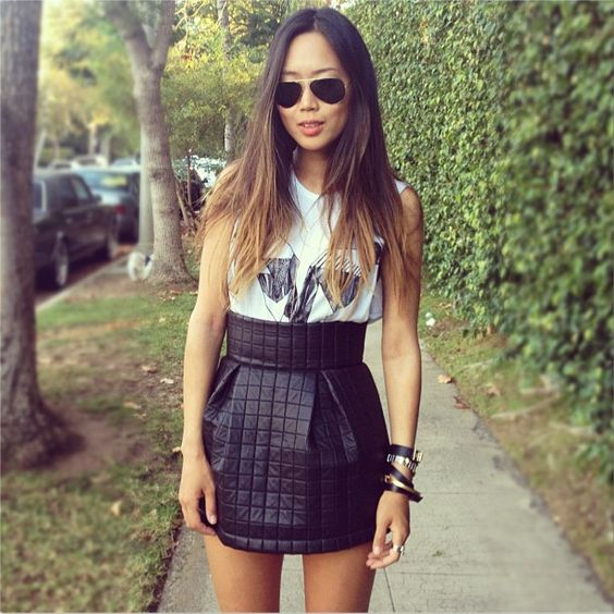quilted leather skirt | Instagram - Song of Style | Pinterest ...