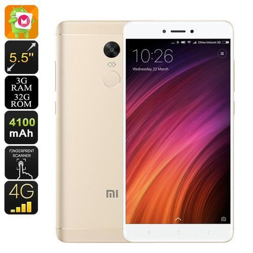 Android Phone Xiaomi Redmi Note 4x Gold Android Smartphone 4gb Ram Finger Print Scanner