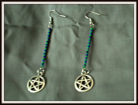 """Worldly Magic"" Green and blue seed beads and pentagram charms earrings$3.00"