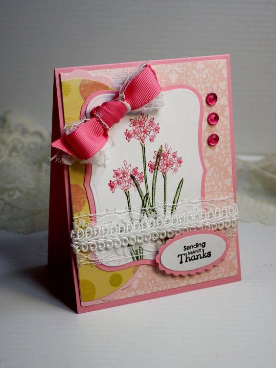 Thank You Card  3D Handmade Card  Greeting Car by CardInspired