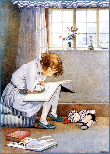 Young Girl and her Huge Book - Honor C. Appleton