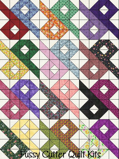 Easy Scrap Quilt Block Patterns : Scrappy Fabric Chinese Puzzle Patchwork Pattern Easy Pre-Cut Quilt Blocks Kit quilts ...