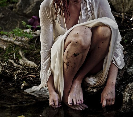 One with the earth photography girl outdoors nature wet mud