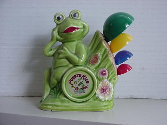 Frog Measuring Spoon Holder w Spoons Puerto Rico Souvenir: