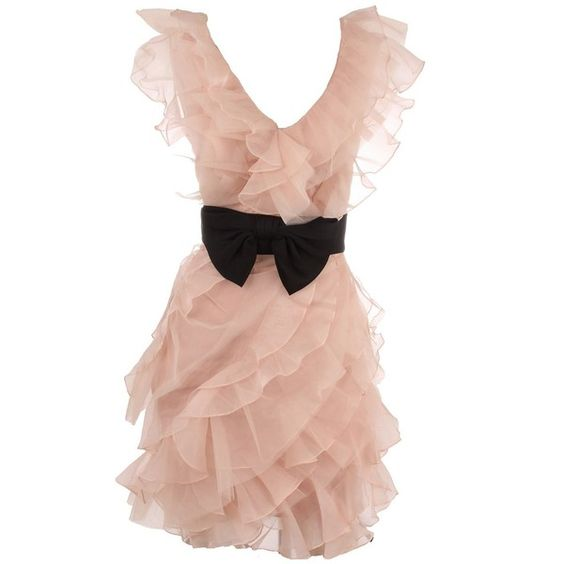 Marchesa Notte Organza Ruffle Dress with Bow found on Polyvore