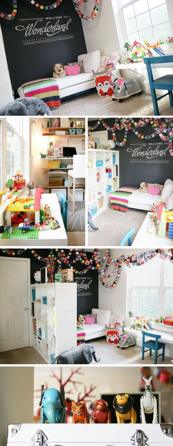 Play room – there are some things I really love here, like the simple but colorful paper chain, sectioning off the room with a tall storage unit, and creating different purposes for the different spaces of the room.: