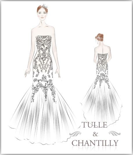 Sketches Of Wedding Gowns: Lace, Mermaids And Tulle Wedding Gown