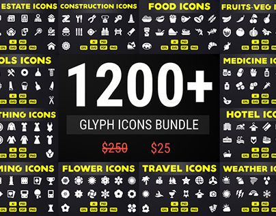 """Check out new work on my @Behance portfolio: """"Solid Icons - Glyph Icon Mega…"""