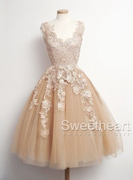 Retro Tulle Lace Short Prom Dresses Formal Dresses prom dress ...