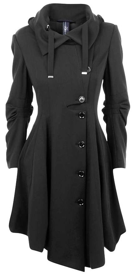 Vogue black hooded collar single breasted trench coat
