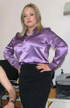 Black Pencil Skirt And Purple Satin Blouse Could Be Better