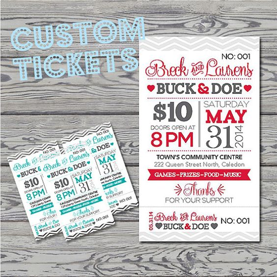 Printed raffle buck and doe tickets jack and jill tickets for Stag tickets template