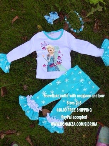 Great Accessories blog: Frozen Snowflake outfit with necklace and bow size...