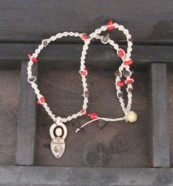 Pagan Goddess macrame natural hemp by BusyFingersOriginals on Etsy, $11.50